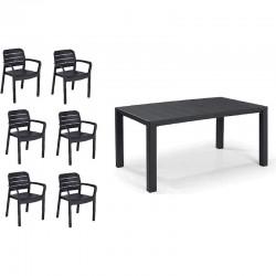 KETER Set Julie in resina color Graphite tavolo + 6 sedie