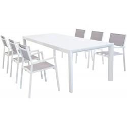 COSMA Set White in Alluminio 1 tavolo estensibile (150/210x90cm) + 6 poltrone con braccioli