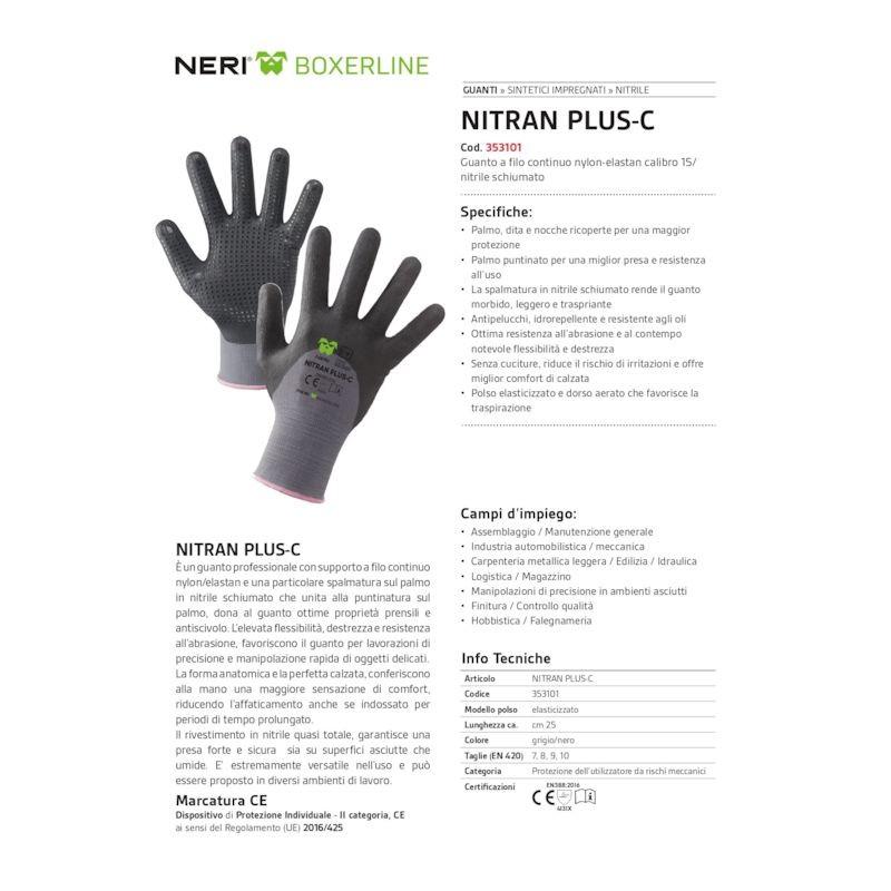 NERI Guanto a filo continuo calibro 15 in nylon-elastan / nitrile schiumato nitran plus-c