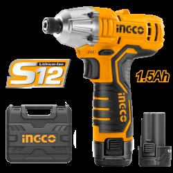 INGCO Avvitatore a percussione12V al litio + caricatore e 2 batterie