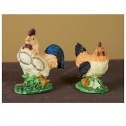 ROSSI ROSA Gallo o gallina in resina cm 3,5 per allestimento presepe