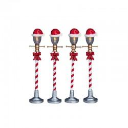 LEMAX Lampioni Decori Natalizi Set 4 - Santa Hat Street Lamp