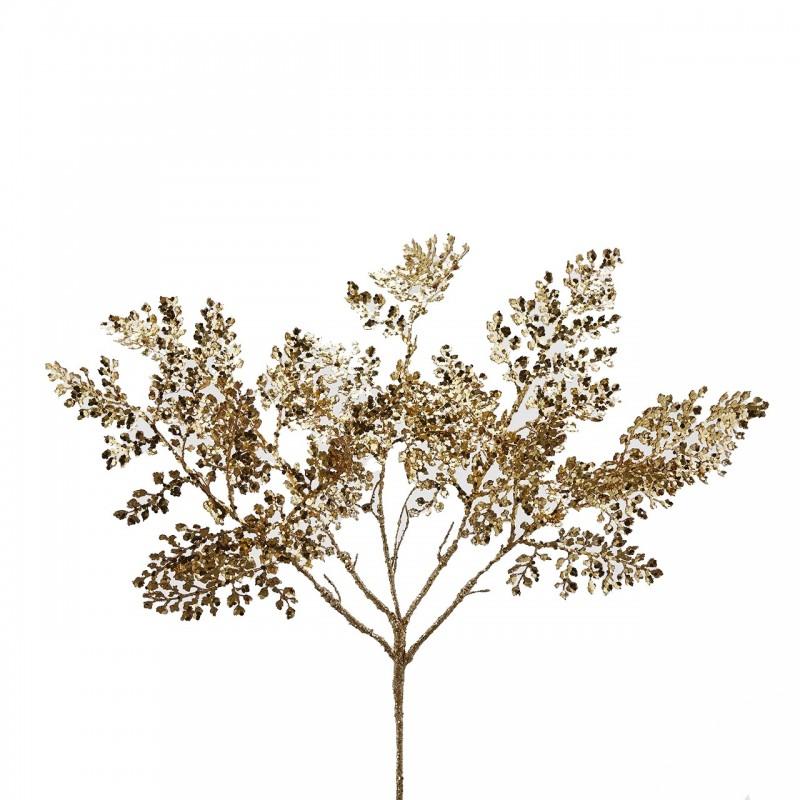 ENZO DE GASPERI Ramo Felce Metallizzata con Glitter Oro H46 Cm