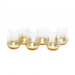 MERCURY Set 6 Bicchieri Vetro Oro