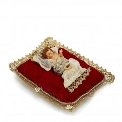 ENZO DE GASPERI Gesù Bambino con Cuscino Rosso e Oro
