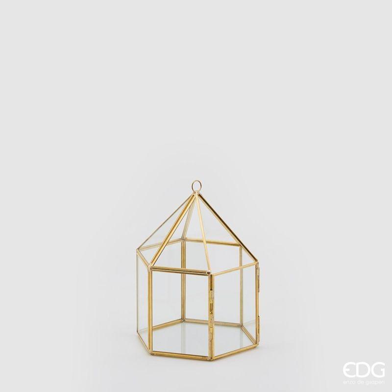 ENZO DE GASPERI Lanterna esagonale gold h 19