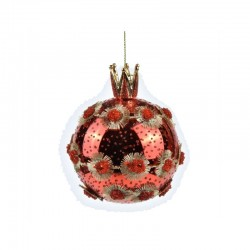 ENZO DE GASPERI Palla in vetro con gemme e corona rossa/oro