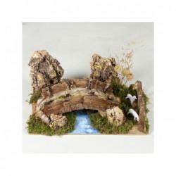 ROSSI ROSA Ponte in resina su fiume con pecore 20x12 cm