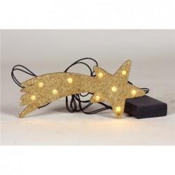 ROSSI ROSA Cometina oro con 10 luci per presepe