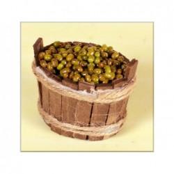 ROSSI ROSA Tinozza legno con olive cm. 5,5x4,5x5,5