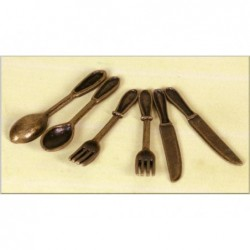 ROSSI ROSA Posate ferro lungh. cm.3,5 (6 pz.) per presepe
