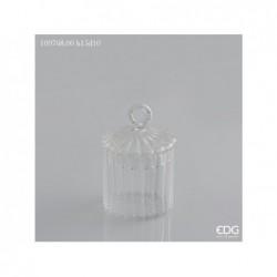 ENZO DE GASPERI Vaso in vetro diamond con coperchio anello natural