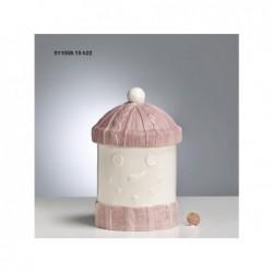 ENZO DE GASPERI Biscottiera pupazzo neve h.22 bianco e rosa
