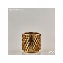 ENZO DE GASPERI Vaso fenice ingranaggi h32 d28 gold