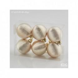 ENZO DE GASPERI Palla glossy righe confezione 6pz ø8cm gold