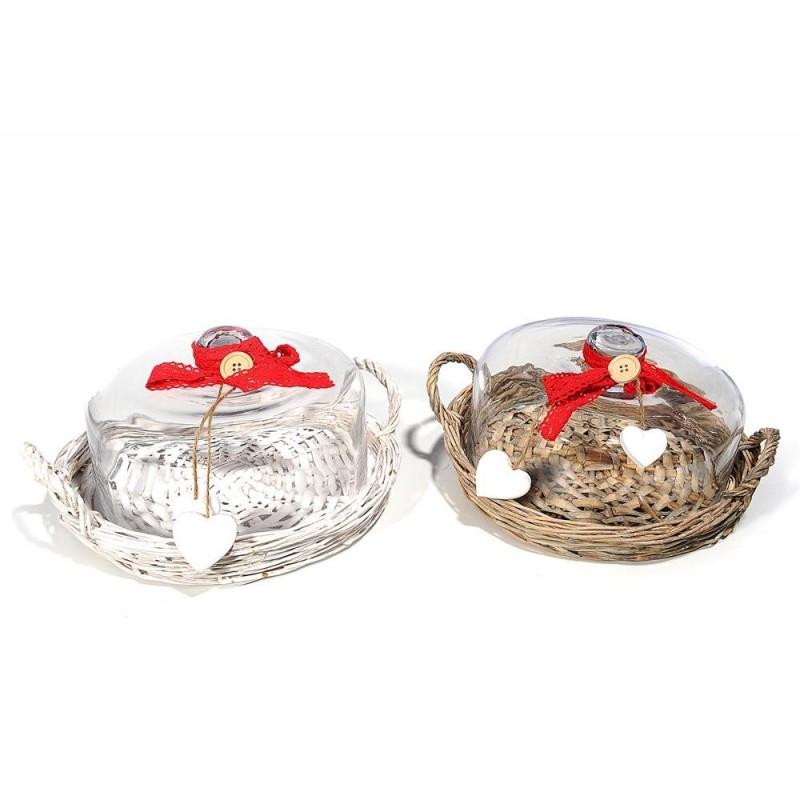 MERCURY Cestino natalizio porta torte in vimini con campana in vetro