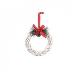 MERCURY Corona dietroporta natalizia in vimini cm25 bianco