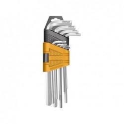 INGCO Set 9 chiavi esagonali corte