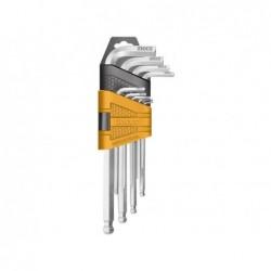 INGCO Set 9 chiavi esagonali ball point corte