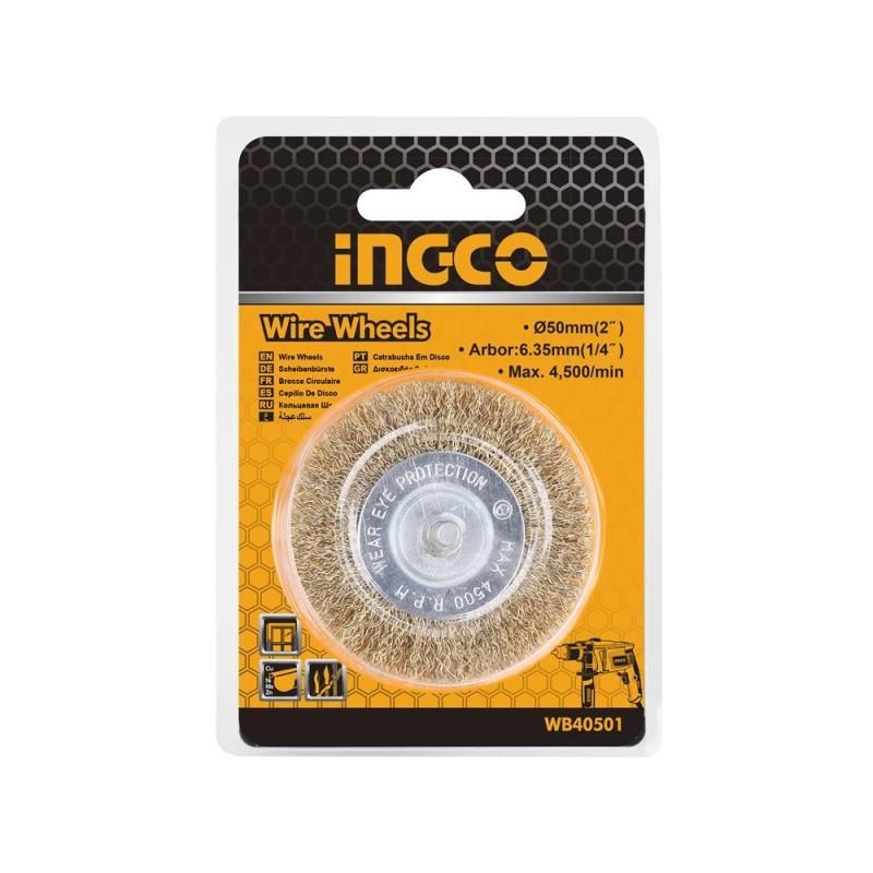 INGCO Spazzola circolare con filo ondulato e gambo diam. 100 mm bl