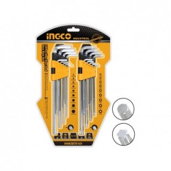 INGCO Set 9 chiavi esagonali + 9 torx lunghe