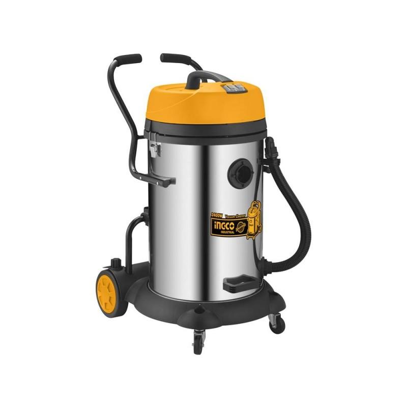 INGCO Aspirapolvere-liquidi inox 2x1200w 75lt