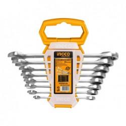 INGCO Set 8 chiavi fisse a cricchetto 8-19 mm