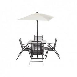XONE Set raymond tavolo 80x80, 4 poltrone in acciaio e textilene più ombrellone