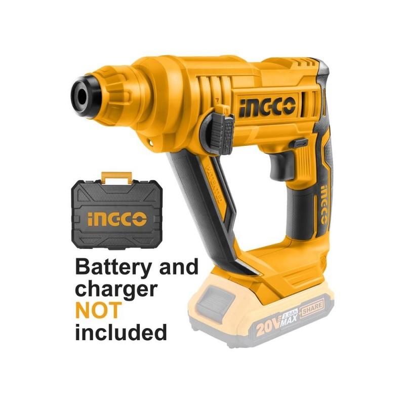 INGCO Martello tassellatore batteria litio 20v + 3 punte sds