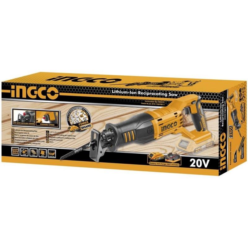 INGCO Seghetto a gattuccio batteria litio 20v nudo + 2 lame