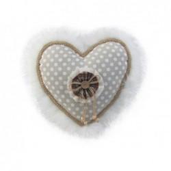 XONE Cuscino cuore bianco con pelliccia 35 cm