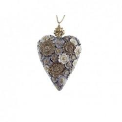 XONE Pendente a cuore con corona oro e argento decorato a mano