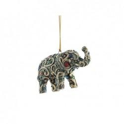 XONE Pendente a forma di elefante verde e oro 6 cm decorato a mano