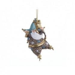 XONE Babbo natale con stella 12,5cm decorato a mano