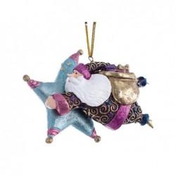 XONE Babbo natale con stella celeste/fucsia, pendente di natale 12,5 cm decorato a mano