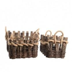 KAEMINGK Cesta in legno grezzo con manico in corda