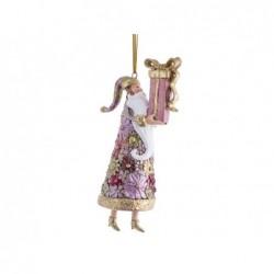 XONE Babbo natale con regalo fuxia pendente 14cm decorato a mano