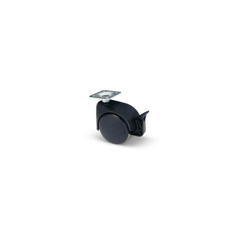 AVO VALSECCHI Ruota da 50mm in termoplastico nero con piastra 38x38mm e freno