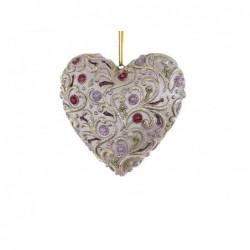 XONE Cuore rosa e champagne, pendente di natale 9cm decorato a mano