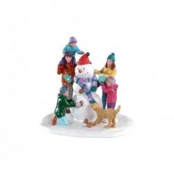 LEMAX Famiglia con pupazzo di neve-Snowman Teamwork