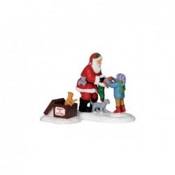 LEMAX Babbo Natale e Gattini- Santa and Jittens set of 2