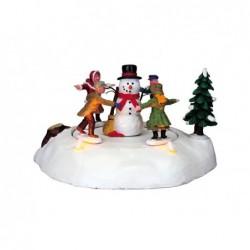 LEMAX Pupazzo di neve con bambini-The merry snowman