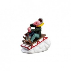 LEMAX Personaggi piccoli tema natalizio-Sledding with Gramps