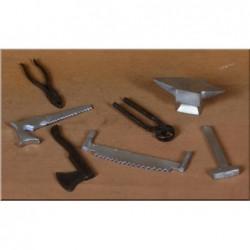 ROSSI ROSA Attrezzi vari in ferro set 7 pezzi per presepe