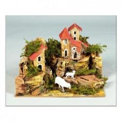 ROSSI ROSA Gruppo case per presepe cm 20x14x13,5