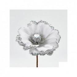 ENZO DE GASPERI Anemone in velluto color argento e bianco con glitter