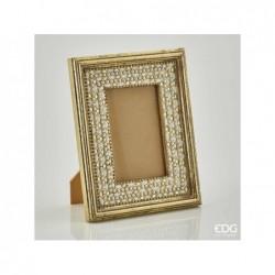 ENZO DE GASPERI Portafoto elegante con gemme oro 24x19cm