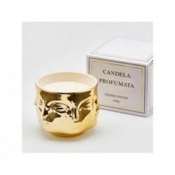 ENZO DE GASPERI Candela in vaso oro con facce h9x11cm