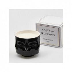 ENZO DE GASPERI Candela in vaso nero con facce h9x11cm