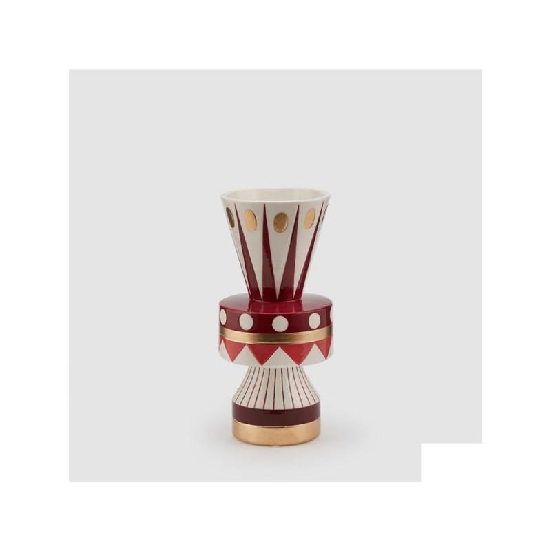 ENZO DE GASPERI Vaso geometrie rosso oro h 25